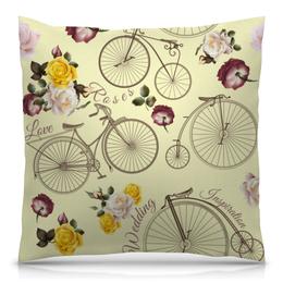 """Подушка 40х40 с полной запечаткой """"Велосипед"""" - велосипед, спорт, розы"""