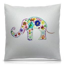 """Подушка 40х40 с полной запечаткой """"Слоник"""" - цветы, яркий, слоник, цвести"""