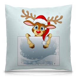 """Подушка 40х40 с полной запечаткой """"Олененок"""" - олень, новый год, снежинки, снег, праздник"""