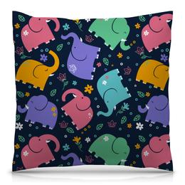 """Подушка 40х40 с полной запечаткой """"Слоники"""" - узор, животные, рисунок, стильный, слоны"""