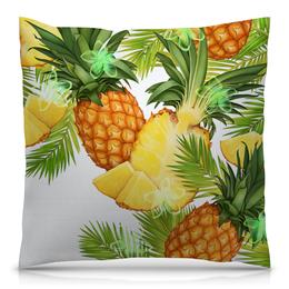 """Подушка 40х40 с полной запечаткой """"Ананасы"""" - фрукты, рисунок, тропики, ананасы"""