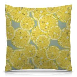 """Подушка 40х40 с полной запечаткой """"лимоны"""" - лето, фрукты, лимон, лимоны, цитрусовые"""