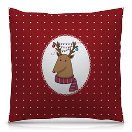 """Подушка 40х40 с полной запечаткой """"Новогодний олень"""" - новый год, красный, игрушки, олень, животное"""