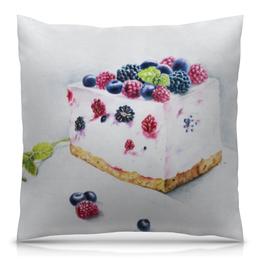 """Подушка 40х40 с полной запечаткой """"Летный чизкейк"""" - ягоды, десерт, прованс, чизкейк, нежный дизайн"""