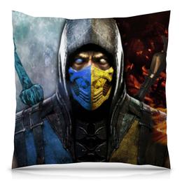 """Подушка 40х40 с полной запечаткой """"Mortal Kombat"""" - скорпион, mortal kombat, мортал комбат, саб-зиро"""