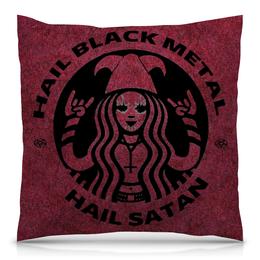 "Подушка 40х40 с полной запечаткой ""Hail Black Metal"" - black metal, satan, сатана, рок музыка, блэк метал"