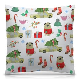 """Подушка 40х40 с полной запечаткой """"Новый год"""" - снежинки, собаки, елка, рождество, новый год"""