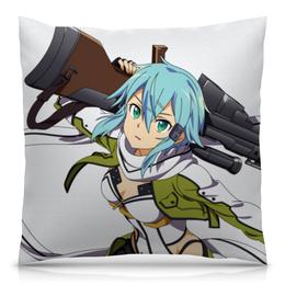 "Подушка 40х40 с полной запечаткой ""Синон. Sword Art Online"" - аниме, sword art online, девушки аниме, мастер меча онлайн, синон"