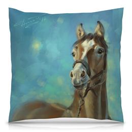 """Подушка 40х40 с полной запечаткой """"Лошадь"""" - животные, лошадь, рисунок, картина"""