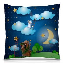 """Подушка 40х40 с полной запечаткой """"фэнтези"""" - стиль, ночь, фея, звездное небо, лесенки"""