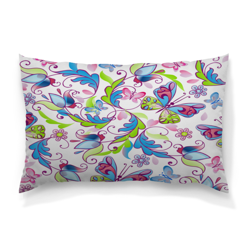 Подушка 60х40 с полной запечаткой Printio Цветы и бабочки цены онлайн