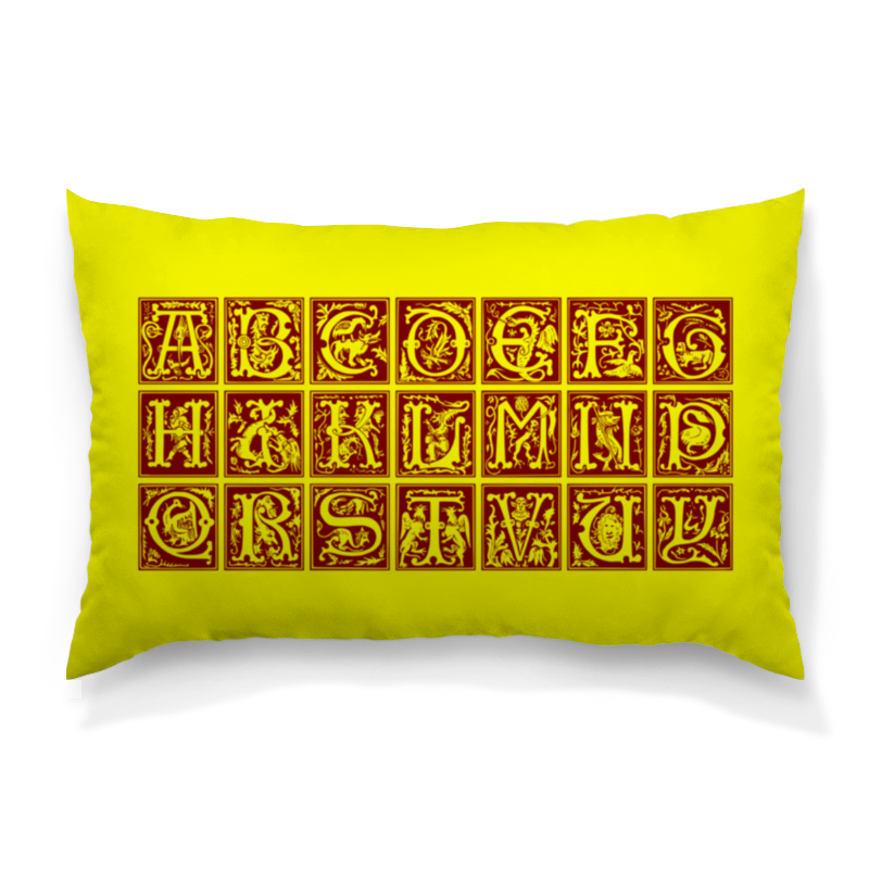 Подушка 60х40 с полной запечаткой Printio Декоративный латинский алфавит xvi века анатомия человека русско латинский атлас
