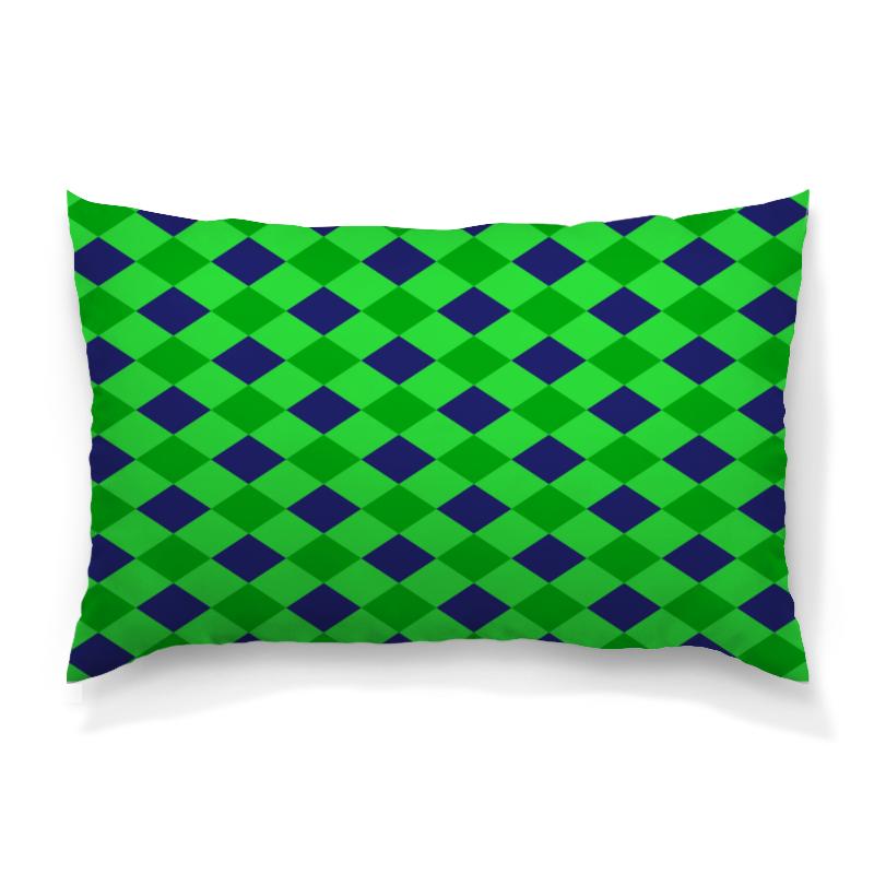 Подушка 60х40 с полной запечаткой Printio Сине-зеленые квадраты подушка 60х40 с полной запечаткой printio зеленые стекла