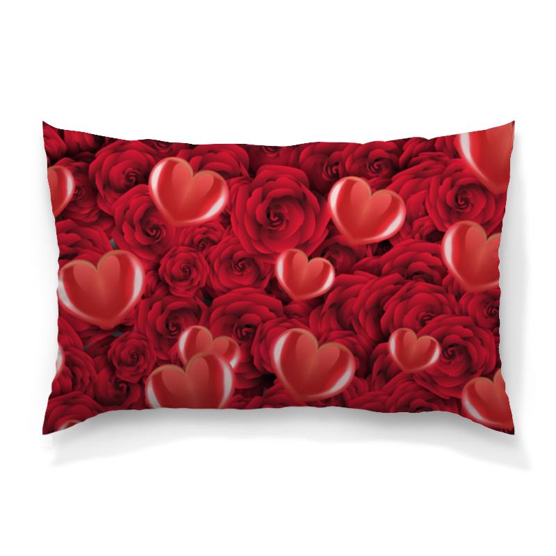 Подушка 60х40 с полной запечаткой Printio Сердечки и розы