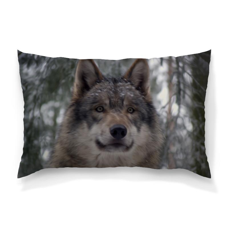 Подушка 60х40 с полной запечаткой Printio Волк в лесу цена