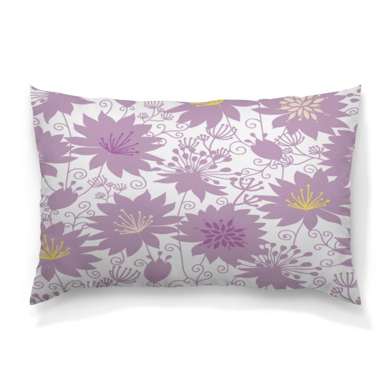 Подушка 60х40 с полной запечаткой Printio Фиолетовые цветы
