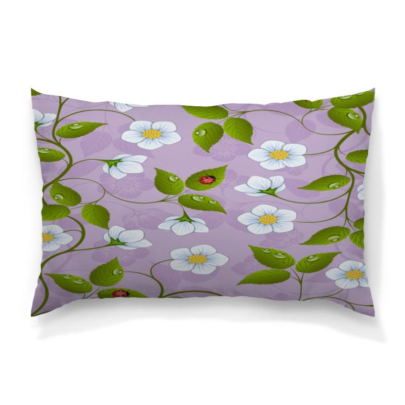Подушка 60х40 с полной запечаткой Printio Цветки клубники подушка 60х40 с полной запечаткой printio весенние цветки