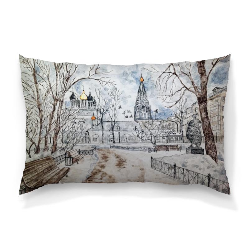 Подушка 60х40 с полной запечаткой Printio московский дворик зимой веселый дворик машинка