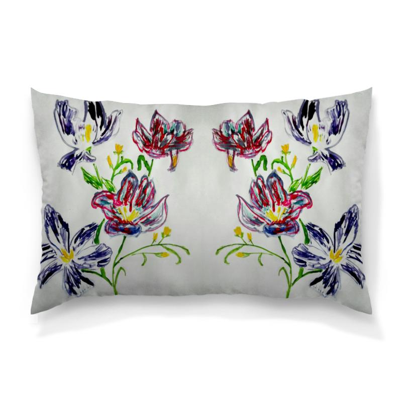 Подушка 60х40 с полной запечаткой Printio Лиловые цветы