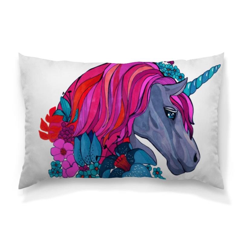 Подушка 60х40 с полной запечаткой Printio Единорог с розовыми волосами в цветах эргорюкзак baby care hs 3183 pink