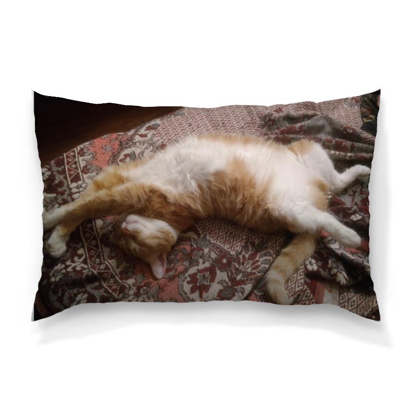 Подушка 60х40 с полной запечаткой Printio Спящий кот оранжевый кот подушка игрушка антистресс кот спортсмен