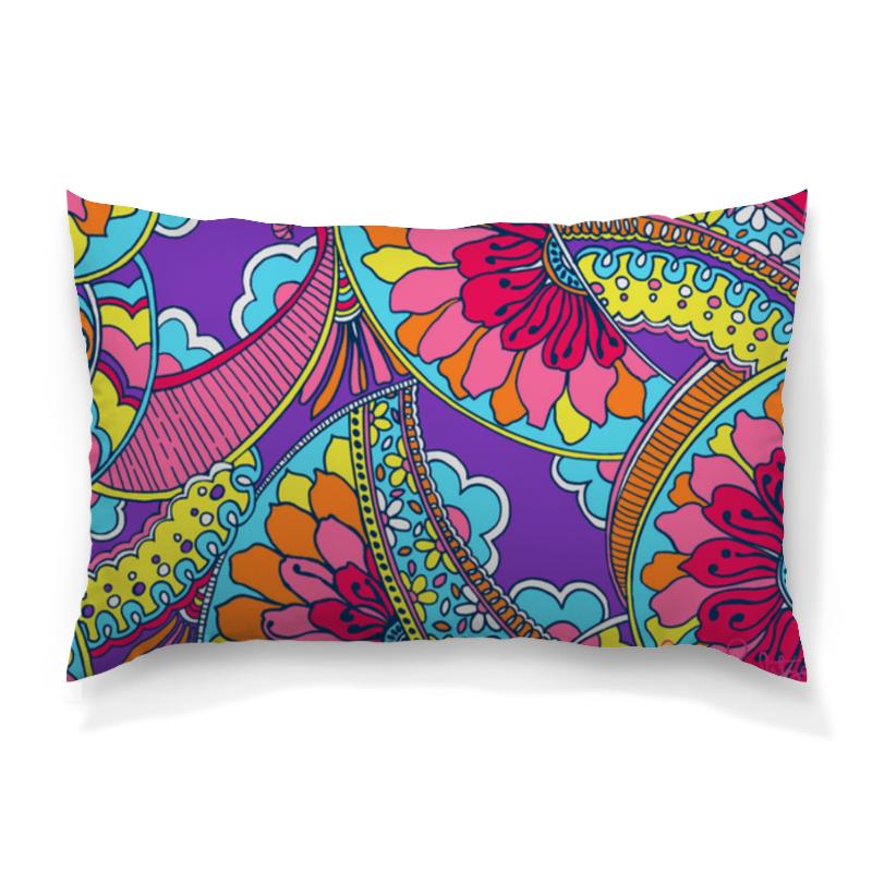 Подушка 60х40 с полной запечаткой Printio Разноцветные узоры .цветы.