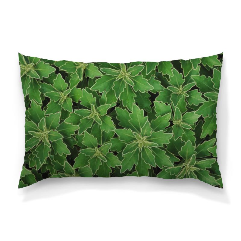 Подушка 60х40 с полной запечаткой Printio Зеленые листья цена и фото