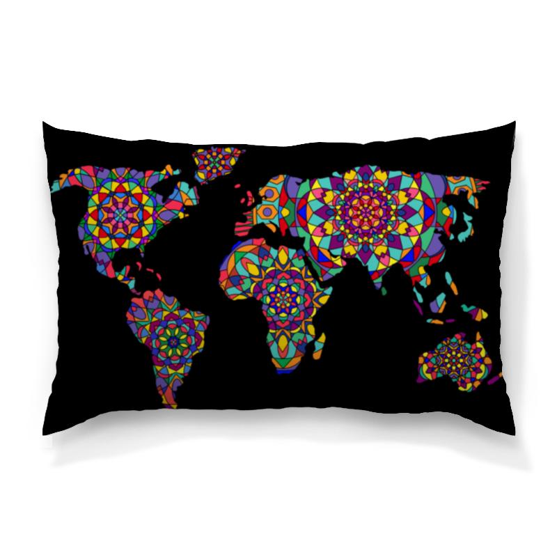 Подушка 60х40 с полной запечаткой Printio С цветной этнической картой мира подмосковье с картой