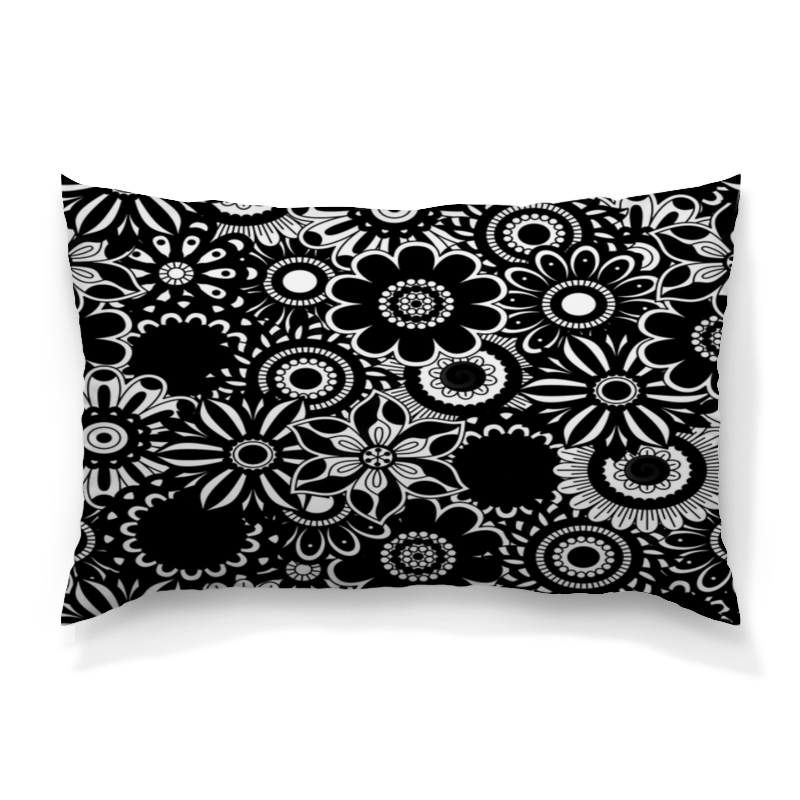 Подушка 60х40 с полной запечаткой Printio Черно-белые цветы подушка 60х40 с полной запечаткой printio черно белые краски