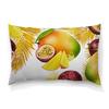 """Подушка 60х40 с полной запечаткой """"Тропические фрукты"""" - фрукты, рисунок, тропики, папайя, маракуйя"""