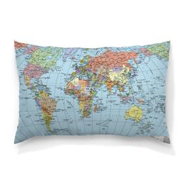 """Подушка 60х40 с полной запечаткой """"Карта мира"""" - мир, страны, карта, политика, география"""