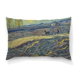 """Подушка 60х40 с полной запечаткой """"Вспаханное поле и пахарь (Винсент ван Гог)"""" - картина, пейзаж, ван гог, живопись, постимпрессионизм"""