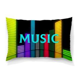 """Подушка 60х40 с полной запечаткой """"Music"""" - музыка, music, плеер, мелодия, звуковая волна"""