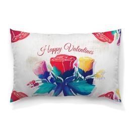 """Подушка 60х40 с полной запечаткой """"День святого Валентина"""" - любовь, день святого валентина, 14 февраля, роза, день влюбленных"""
