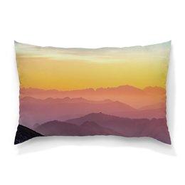 """Подушка 60х40 с полной запечаткой """"Без названия"""" - небо, природа, закат, горы, пейзаж"""