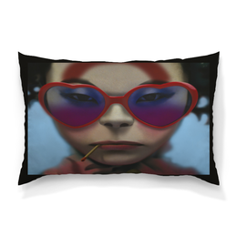 """Подушка 60х40 с полной запечаткой """"Девушка в очках"""" - сердце, девушка, смешные, лицо, очки"""