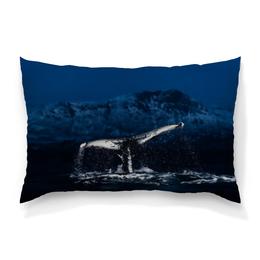 """Подушка 60х40 с полной запечаткой """"Whale"""" - море, брызги, кит, animal, whale"""