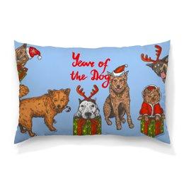 """Подушка 60х40 с полной запечаткой """"новый год"""" - новый год, зима, собака, подарок, год собаки"""