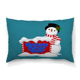 """Подушка 60х40 с полной запечаткой """"Снеговик"""" - новый год, снеговик, снег, праздник, зима"""