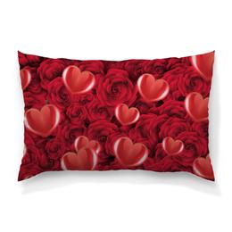 """Подушка 60х40 с полной запечаткой """"Сердечки и розы"""" - день святого валентина, 14 февраля, сердечки, розы, день влюблённых"""
