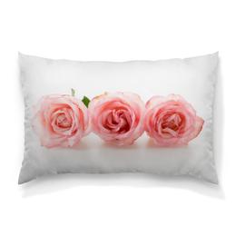 """Подушка 60х40 с полной запечаткой """"Нежные розы"""" - розы, розочки, цветы, нежный цветок"""