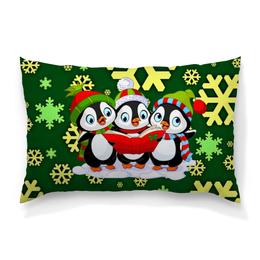 """Подушка 60х40 с полной запечаткой """"Пингвины"""" - пингвины, новый год, снежинки, животные, праздник"""