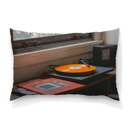 """Подушка 60х40 с полной запечаткой """"Винил"""" - музыка, окно, vinyl, виниловые пластинки, граммафон"""
