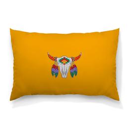 """Подушка 60х40 с полной запечаткой """"Этнический бык"""" - 23 февраля, желтый, этно, бык, bull"""