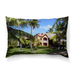 """Подушка 60х40 с полной запечаткой """"""""Доминикана. Тропический сад"""""""" - лето, путешествия, travel, пальмы, доминикана"""