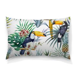 """Подушка 60х40 с полной запечаткой """"Пеликан и ананасы"""" - красиво, птицы, природа, ананас, пеликан"""