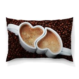 """Подушка 60х40 с полной запечаткой """"Любовь и кофе"""" - любовь, кофе"""