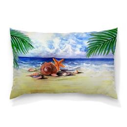 """Подушка 60х40 с полной запечаткой """"Пляжная"""" - пальма, море, пляж, ракушка, морская звезда"""