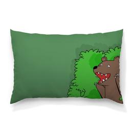 """Подушка 60х40 с полной запечаткой """"Медведь"""" - мем, медведь, комикс, лес, медведь из кустов"""