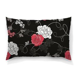 """Подушка 60х40 с полной запечаткой """"Красная и белая розы"""" - цветы, белое, красное, розы"""
